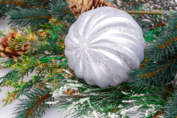 Natal decoração cinza bola ramo Foto stock © ruzanna