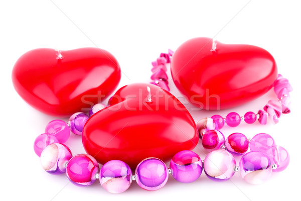 Vermelho coração velas rosa colar isolado Foto stock © ruzanna