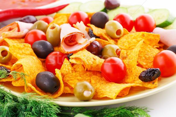 Nachos olives porc longe légumes image Photo stock © ruzanna