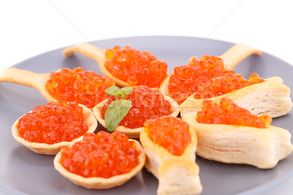 Rouge caviar gris plaque mer Photo stock © ruzanna