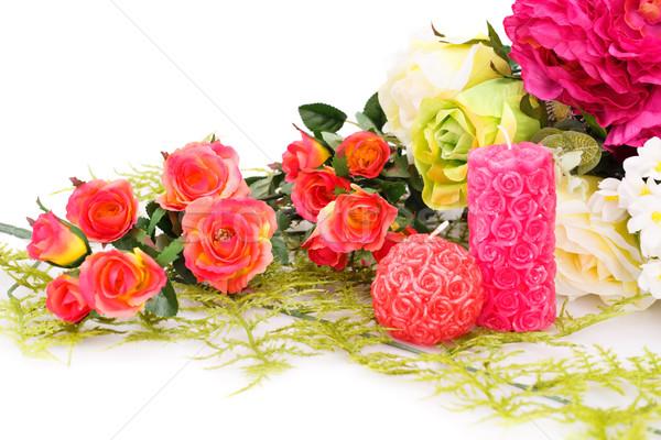 Farbenreich Rosen Kerzen weiß Blumen Stock foto © ruzanna