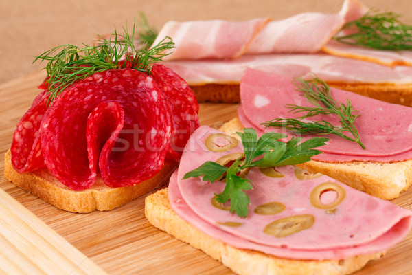 Sandwiches with salami, bacon and mortadella Stock photo © ruzanna