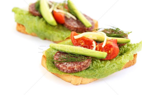 サンドイッチ サラミ チェリートマト キュウリ ハーブ 孤立した ストックフォト © ruzanna