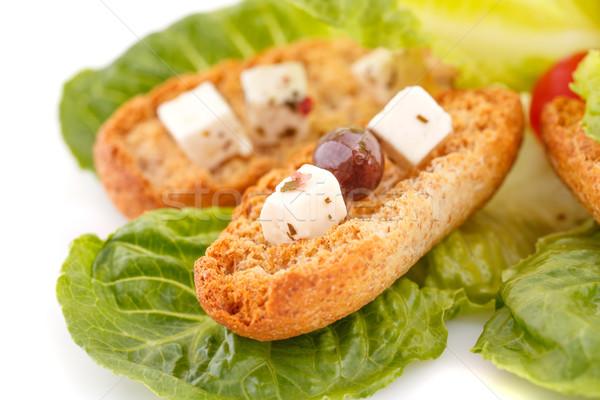 Zöldségek fetasajt fehér levél zöld kenyér Stock fotó © ruzanna