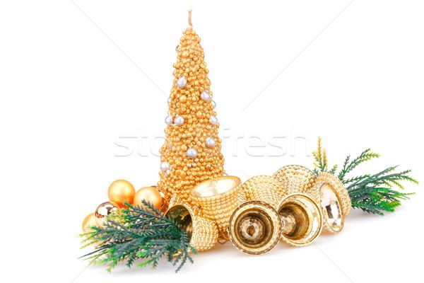Natal decoração vela isolado branco verde Foto stock © ruzanna
