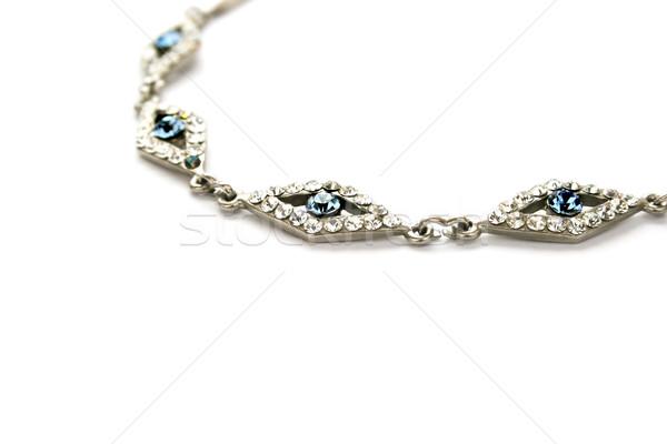 Naszyjnik niebieski biały odizolowany streszczenie tle Zdjęcia stock © ruzanna