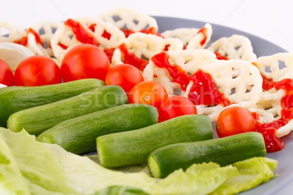 картофельные чипсы овощей пластина продовольствие группа еды Сток-фото © ruzanna