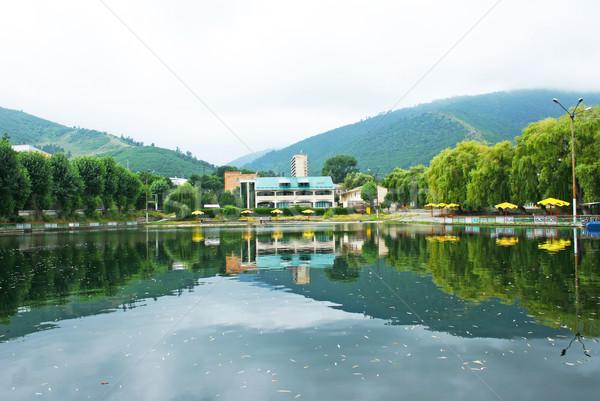 Cidade Armênia árvores lago céu água Foto stock © ruzanna