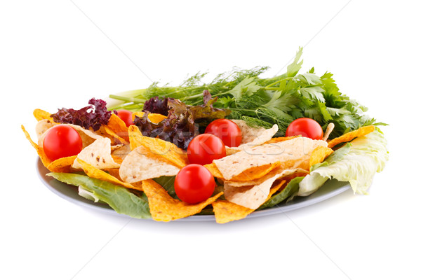 Nachos cerise laitue herbes plaque blanche Photo stock © ruzanna