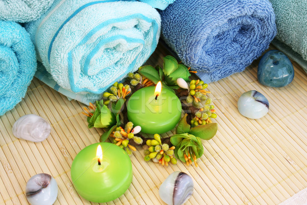 Towels, candles and stones Stock photo © ruzanna