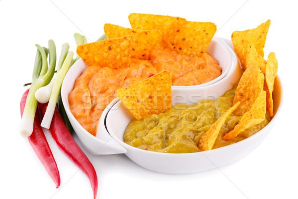 Nachos kaas saus groenten geïsoleerd witte Stockfoto © ruzanna