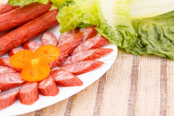 野菜 新鮮な ソーセージ プレート 緑 サラダ ストックフォト © ruzanna