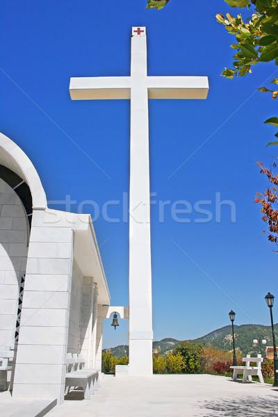 Cruz grande Chipre pueblo iglesia cielo Foto stock © ruzanna