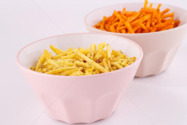 Batatas fritas rosa bege isolado cinza Foto stock © ruzanna