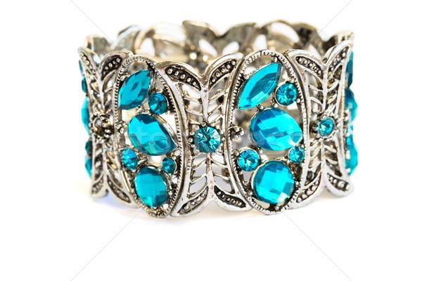 Azul pulsera piedras aislado blanco fondo Foto stock © ruzanna