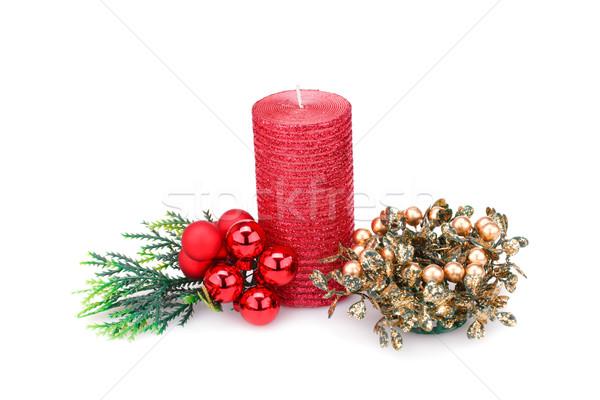 Navidad decoración vela aislado blanco Foto stock © ruzanna