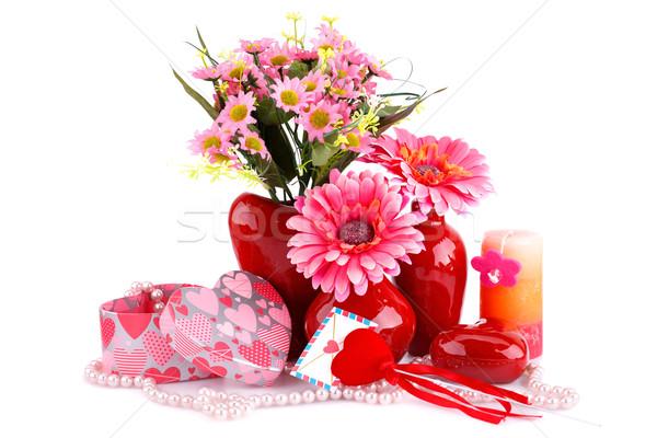 цветы красный сердце стекла ожерелье Сток-фото © ruzanna