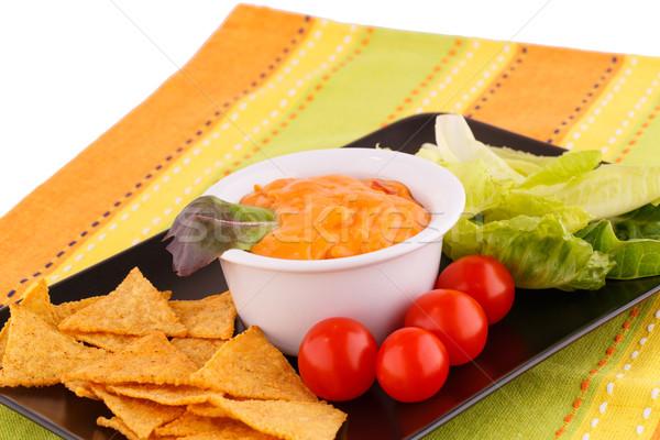 ナチョス チーズ ソース 野菜 ブラウン プレート ストックフォト © ruzanna