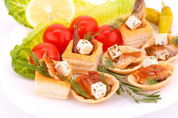 копченый рыбы свежие овощи продовольствие Сток-фото © ruzanna