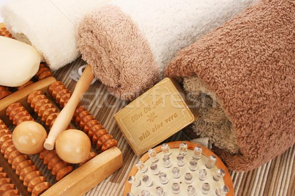 Foto stock: Toalhas · estância · termal · conjunto · madeira · bar · banheiro
