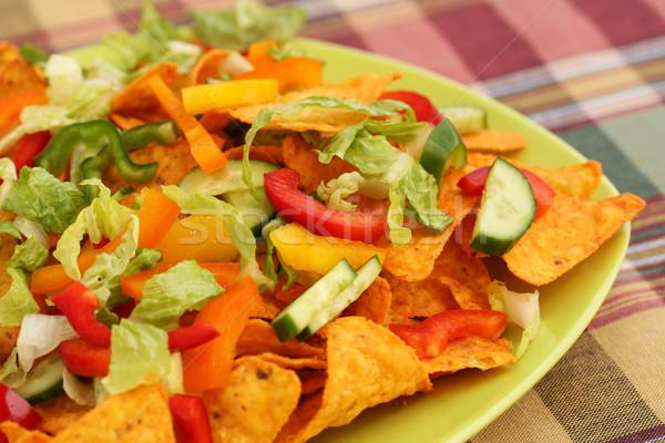 Nachos legumes verde prato milho Foto stock © ruzanna
