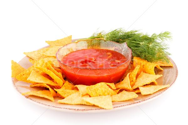 Nachos vermelho molho prato isolado branco Foto stock © ruzanna