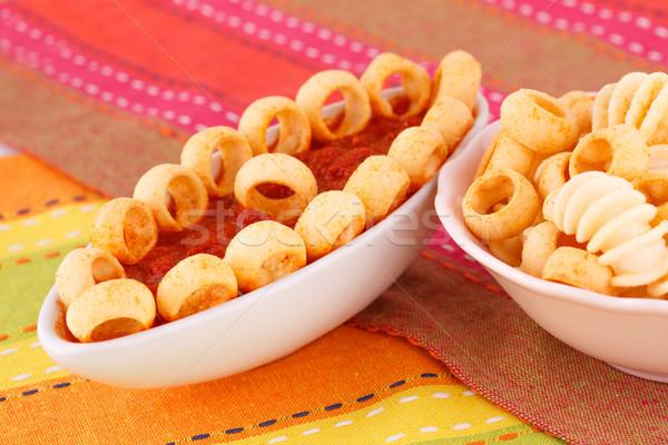 Batatas fritas vermelho molho isolado colorido toalha de mesa Foto stock © ruzanna
