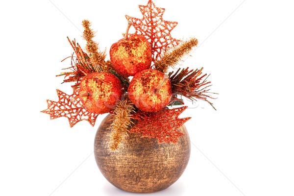 クリスマス 装飾 ブラウン 花瓶 孤立した 白 ストックフォト © ruzanna