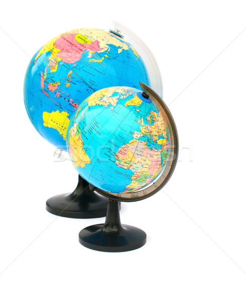 Foto stock: Globos · dos · aislado · blanco · mundo · mar