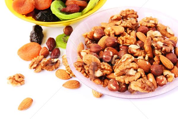 Сток-фото: сушат · плодов · орехи · изолированный · белый · фрукты