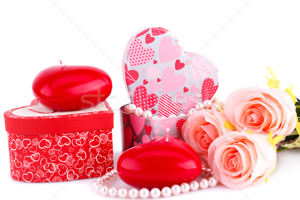 Stock photo: Red heart candles, roses, necklace and gift boxes