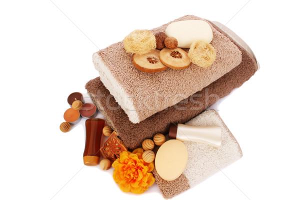Stockfoto: Handdoeken · spa · ingesteld · geïsoleerd · witte · bloem
