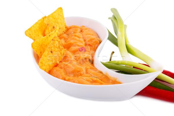 Начо сыра соус овощей изолированный белый Сток-фото © ruzanna