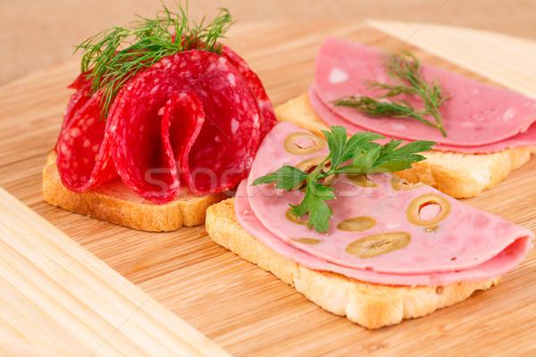 Sandwiches with salami and mortadella Stock photo © ruzanna