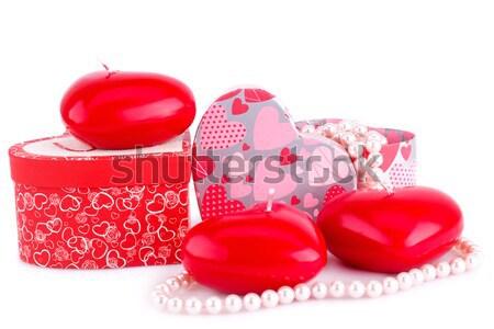 Vermelho coração velas tulipas caixas de presente branco Foto stock © ruzanna