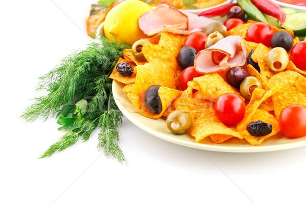 Stock fotó: Nachos · olajbogyók · disznóhús · vesepecsenye · zöldségek · izolált