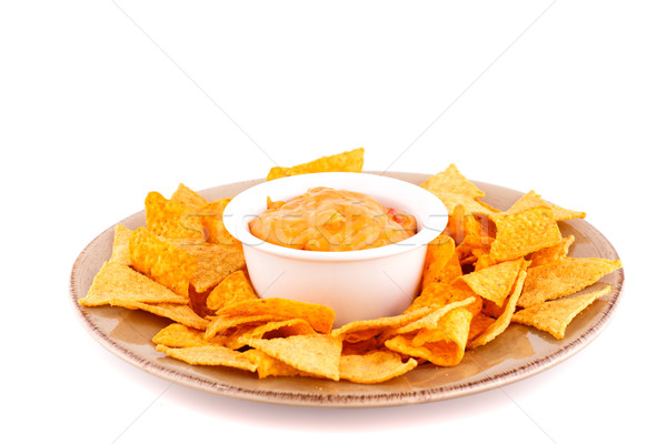 Nachos fromages sauce isolé blanche plaque Photo stock © ruzanna