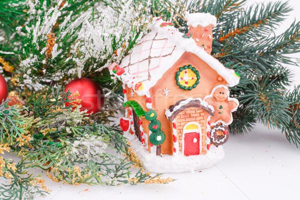 Karácsony dekoráció piros golyók ág játék Stock fotó © ruzanna