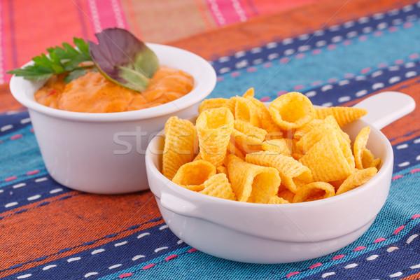 Nachos sajt mártás színes törölközők háttér Stock fotó © ruzanna