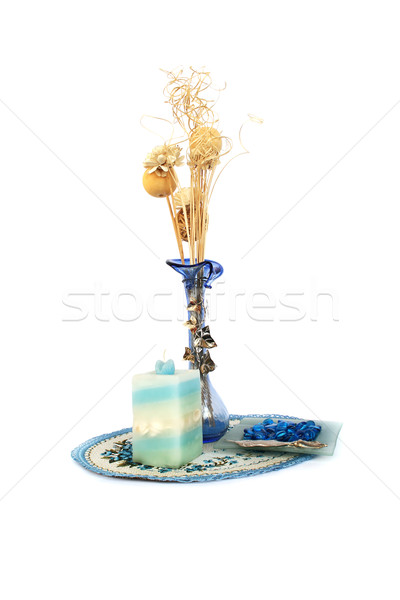 Blue flower vase, candle, table overlay Stock photo © ruzanna