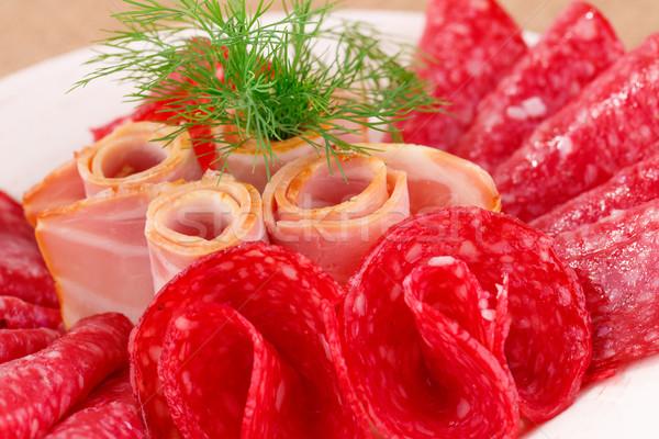 サラミ ベーコン プレート クローズアップ 画像 食品 ストックフォト © ruzanna