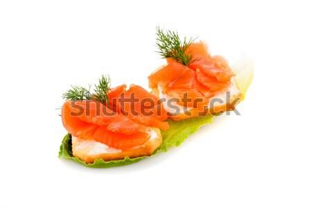 Szendvicsek lazac filé saláta levél izolált Stock fotó © ruzanna