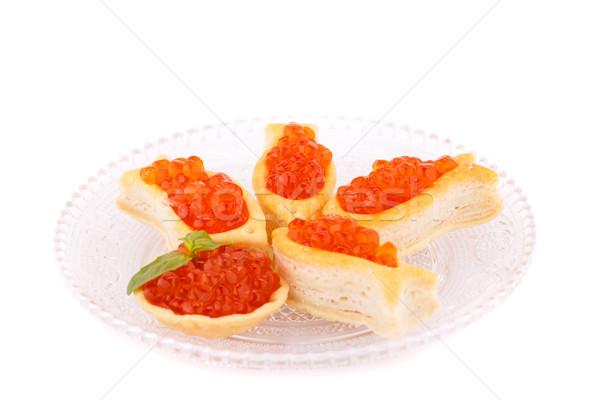 Vermelho caviar vidro transparente prato Foto stock © ruzanna