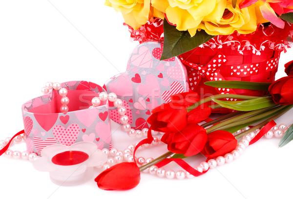 красочный цветы свечу бисер шкатулке Сток-фото © ruzanna