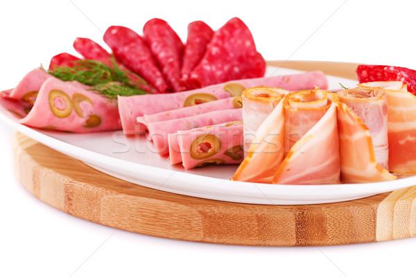 Salami tocino placa alimentos madera Foto stock © ruzanna