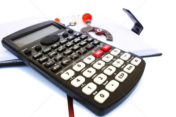 Foto stock: Calculadora · cuaderno · aislado · blanco · oficina · financiar