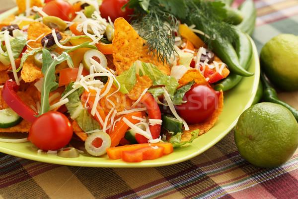 Nachos legumes verde prato queijo Foto stock © ruzanna