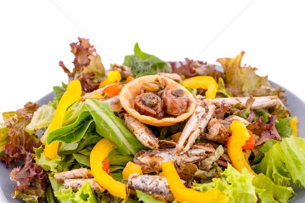 サラダ 魚 新鮮な野菜 白 葉 赤 ストックフォト © ruzanna