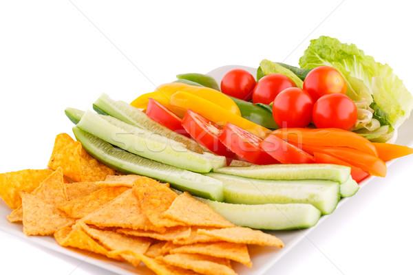 Nachos zöldségek izolált fehér háttér zöld Stock fotó © ruzanna