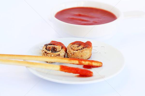 Pão molho vermelho isolado cinza Foto stock © ruzanna